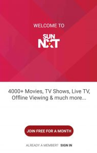 welcome page sunnxt