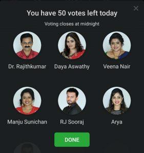 bigg boss 2 official malayalam vote