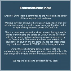 Endemol Shine India About Cancellation of BiggBoss
